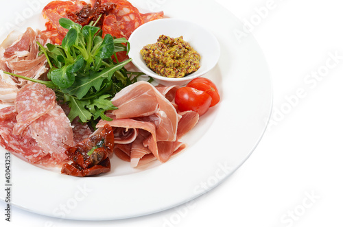 Assorted Italian sausages as a  background