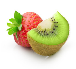 Kiwi fruit and strawberry isolated
