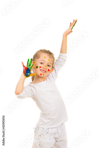 Cheerful messy girl with hands painted