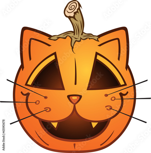 Cat Faced Jack O Lantern Cartoon Character
