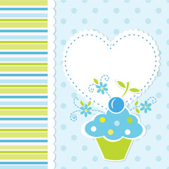 Baby background with cupcake