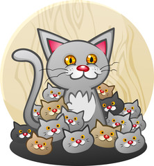 A Mother Cat Cartoon Character with a Litter of Kittens