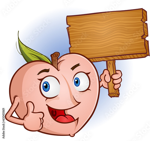 Peach Fruit Cartoon Character Holding a Wooden Sign