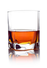 Whisky in a glass isolated on white