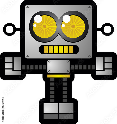 Retro Robot Toy Cartoon Character