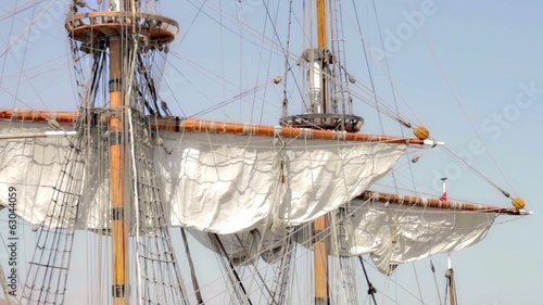 Closed sails - Antique pirate sail ship
