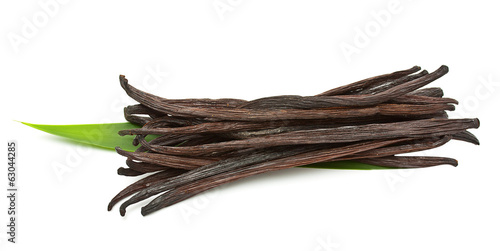 Vanilla pods isolated on white background