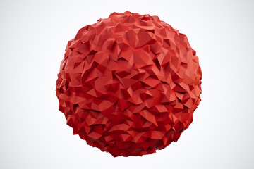 Polygonal Red Sphere isolated on white background