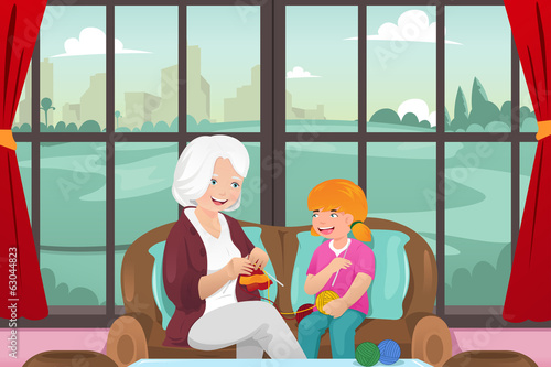 Grandma teaching her granddaughter knitting