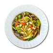 Papaya salad, Thai food, place on plate on white background