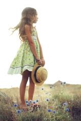 Girl in spring field
