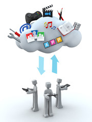 Cloud server teamwork concept
