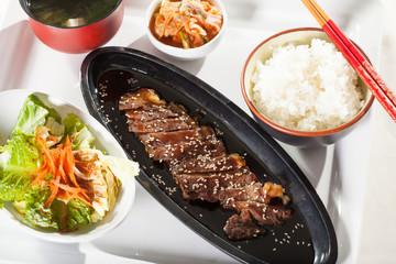 beef teriyaki set, set menu beef teriyaki with salad and rice