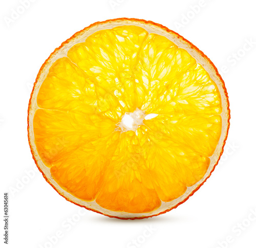 Dried orange fruit slice isolated on white background.