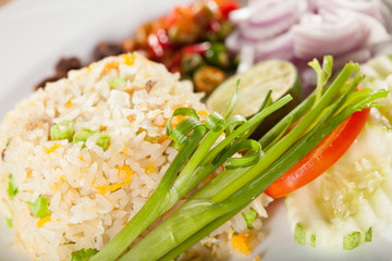 fried rice, Thai style fried rice with slated beef