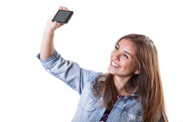 Young beautiful girl making a photo