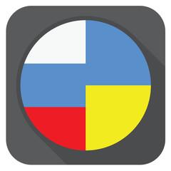 vector illustration of dark grey round edge button with ukraine