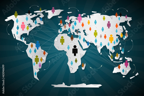 Colorful Vector People Icons on World Map - Social Media
