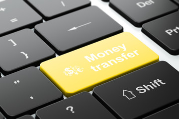 Finance concept: Finance Symbol and Money Transfer on computer