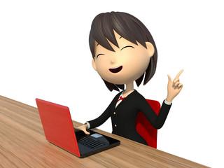 ノートパソコンを使う女子学生