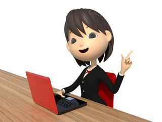 ノートパソコンを使う女子生徒