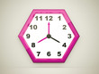 Pink hexagonal clock