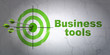 Business concept: target and Business Tools on wall background