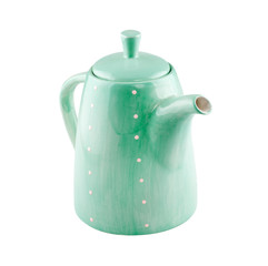 green jug or teapot isolated on white background