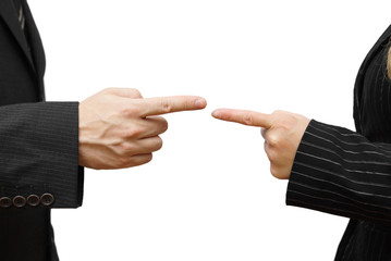 man and woman pointing at each other against. Business conflict