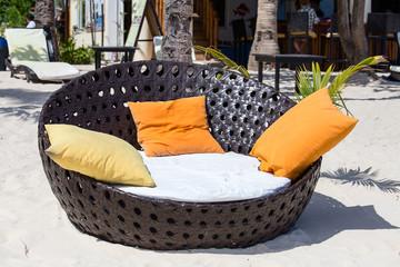 Beach chair at sunny coast. Island Malapascua, Philippines