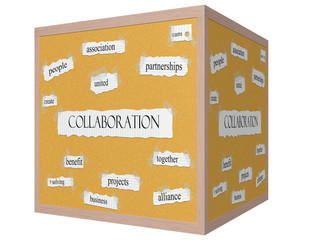 Collaboration 3D cube Corkboard Word Concept