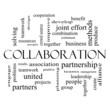 Collaboration Word Cloud Concept in black and white