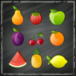 Vector Illustration of Glossy Fruits on a Black Chalkboard