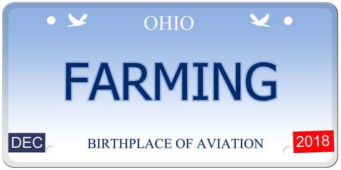 Farming Ohio Imitation License Plate
