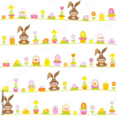 Easter Rabbits & Symbols Seamless Pattern