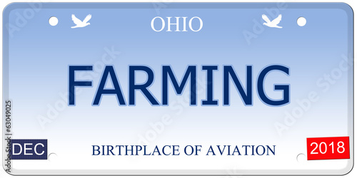 Farming Ohio Imitation License Plate