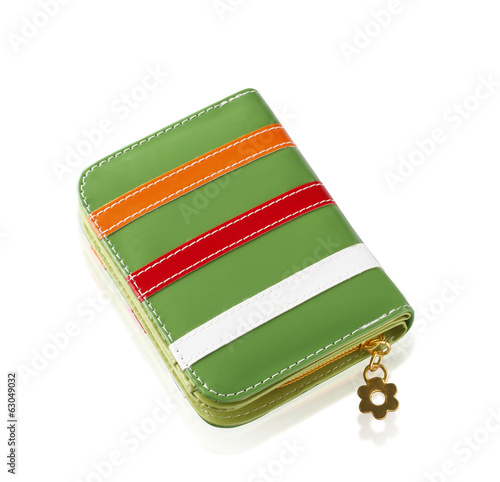 Colorful fashion lady wallet isolated on white