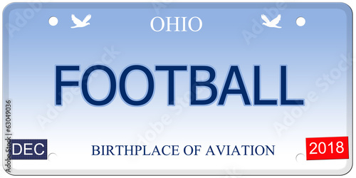 Football Ohio Imitation License Plate