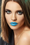Blue lipstik. Beauty lips, young model poster