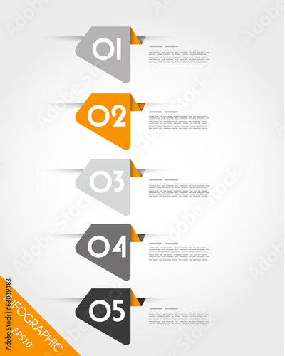 five orange rounded irregular stickers