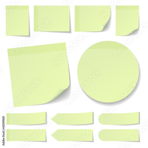 Light Green Stick Notes Collection Round