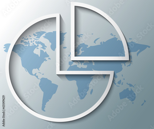 Illustration of pie chart with world map background