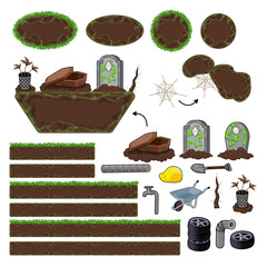 Set of game elements. Platforms and objects