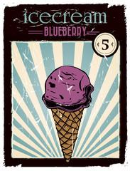 vintage blueberry ice cream poster