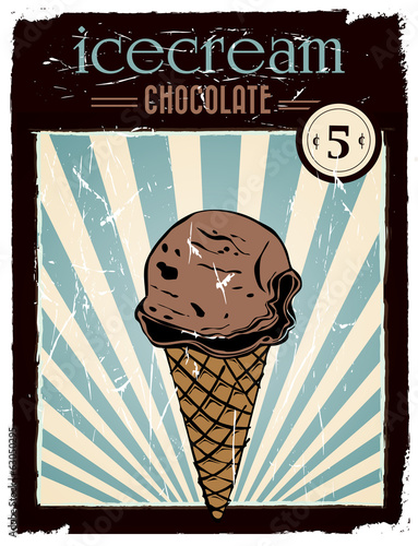 vintage chocolate ice cream poster