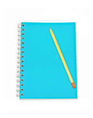 Notebook with pencil isolated on white background