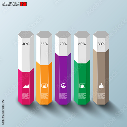 Abstract 3D paper Infographic