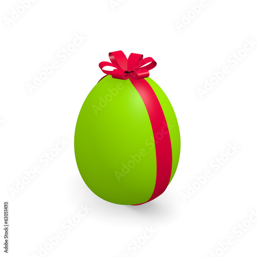 Green Easter egg on white