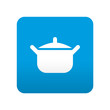 Etiqueta tipo app azul simbolo cacerola