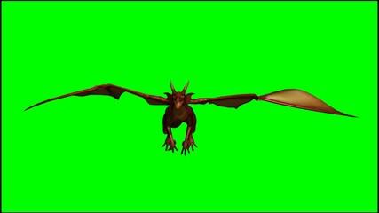 dragon in flight - green screen